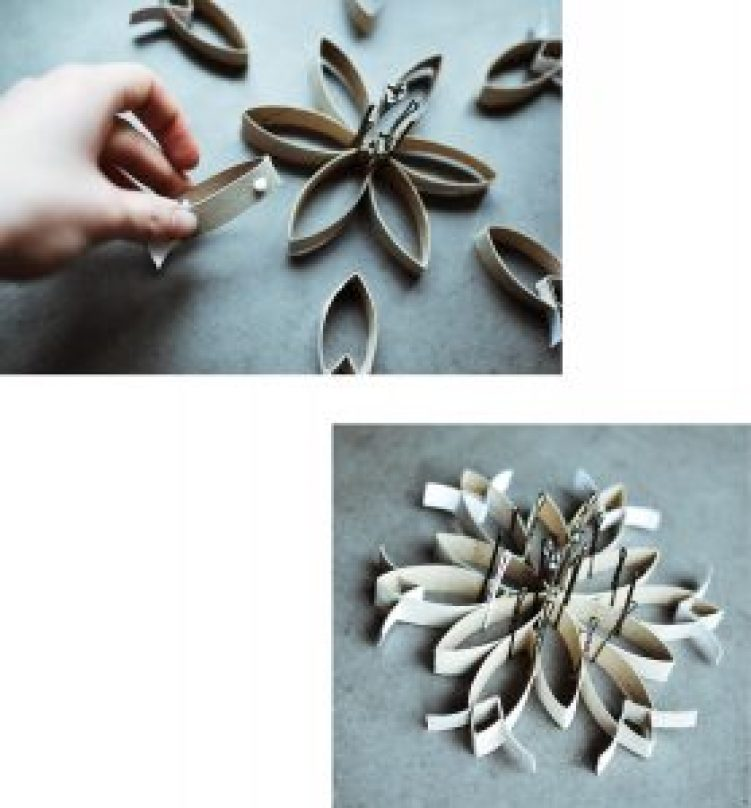 DIY christmas star decoration zero waste ornament from toilet paper rolls step 11