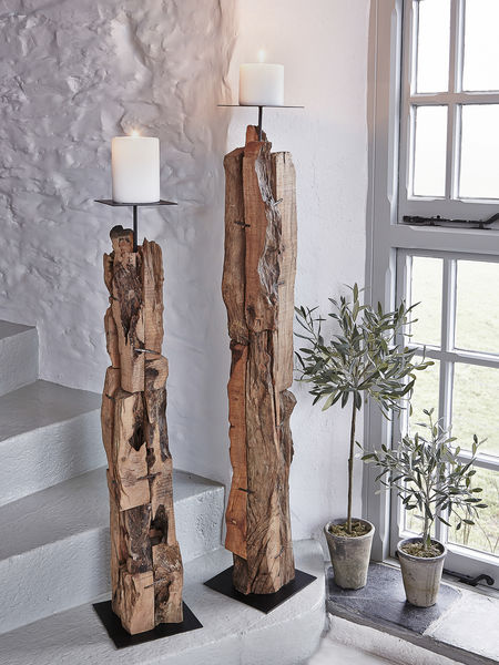 Driftwood Candle Holders Wooden Floor Standing Candle