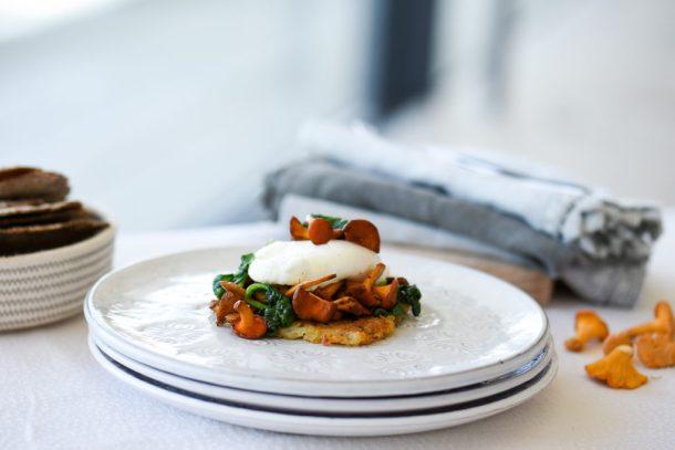 Rosti with Wild mushrooms & Spinach