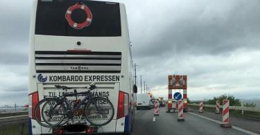 Kø på Øresundsbroen på grund af dansk grænsekontrol. Foto Esben Agerlin Olsen