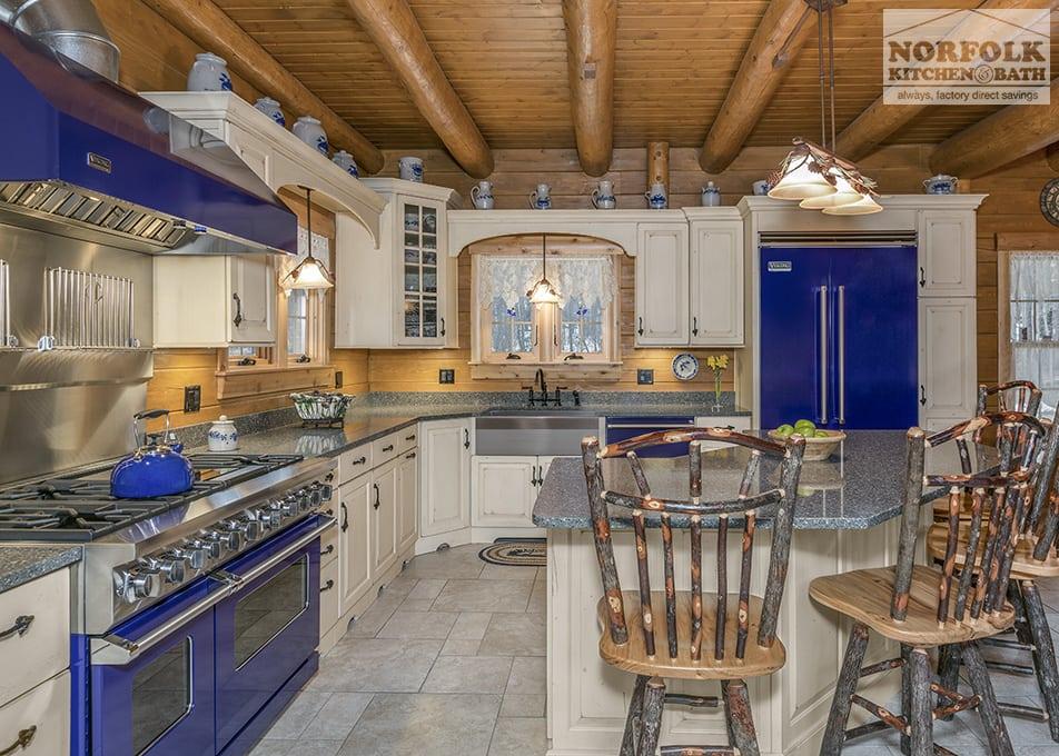 Log Cabin Kitchen With Blue Appliances Norfolk Kitchen Amp Bath