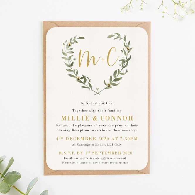 Greenery Botanical Evening Wedding Invitations