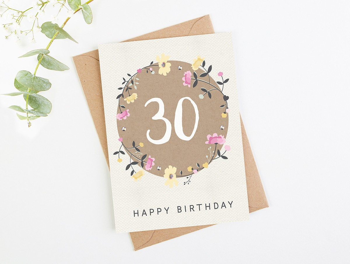30th Birthday Card Floral Normaampdorothy