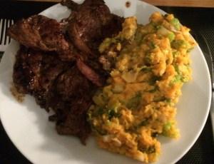 Andijvie zoete aardappel met een heerlijke duitse steak