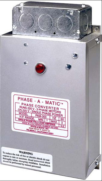 Phase-A-Matic PAM-100 Static Phase Converter, 1/3 - 3/4 HP