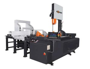 """Cosen 20"""" x 26"""" NC Programmable Automatic Heavy-Duty Hydraulic Tilt Frame Double Mitering Vertical Band Saw with Feeding Device, AV-2026NC"""