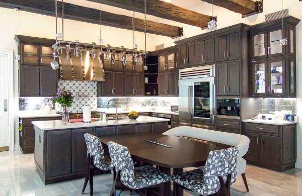 Custom kitchen cabinets and kitchen island
