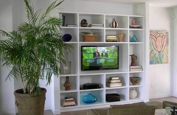 Custom open built-in cabinets