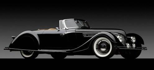 1932 Ford Speedster-front 3q top off on dark