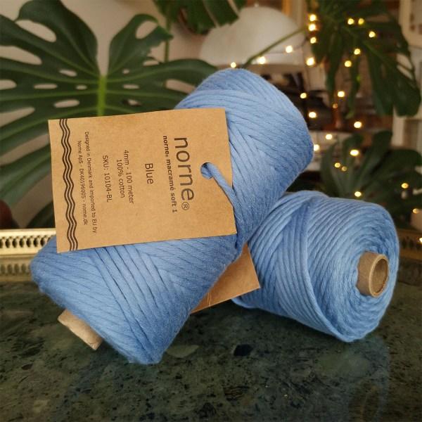 Bomuldssnor i blå - 4 mm meget blødt