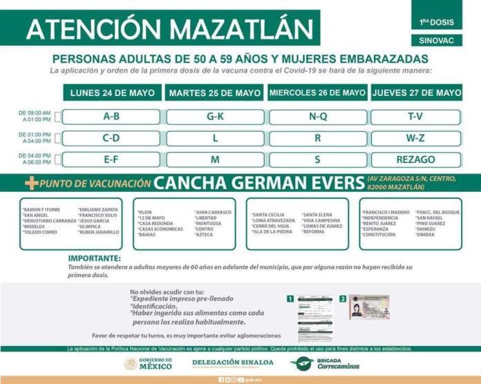 $!De lunes a jueves, así se vacunará en Mazatlán a los de 50 a 59 años, embarazadas y 'rezagados' de más de 60 años