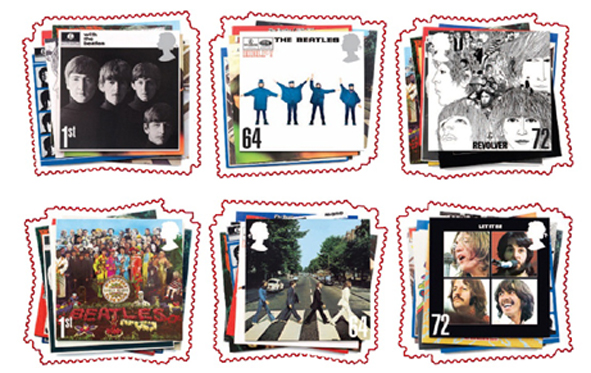 Set of 6 Royal Mail Beatles stamps showing album covers of With the Beatles, Sergeant Pepper, Help, Abbey Road, Revolver and Let it Be.