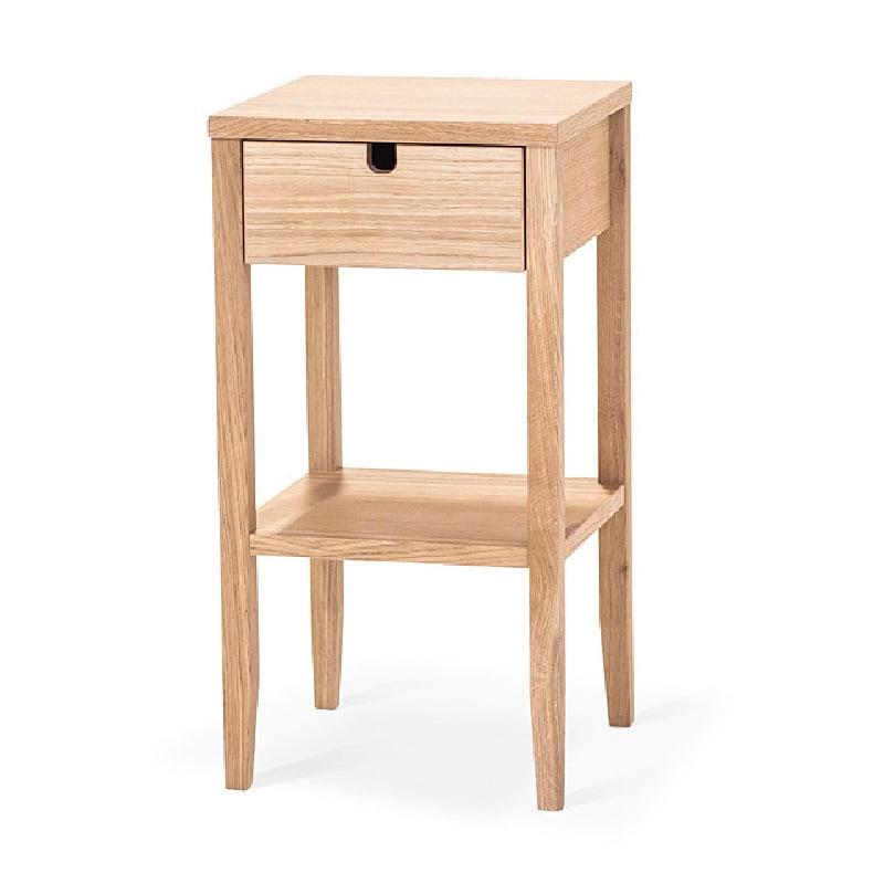 EKLIDEN Sängbord m. låda vitoljad ek Norrmalms Möbler