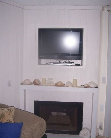 A-312 Downstairs TV & Fireplace