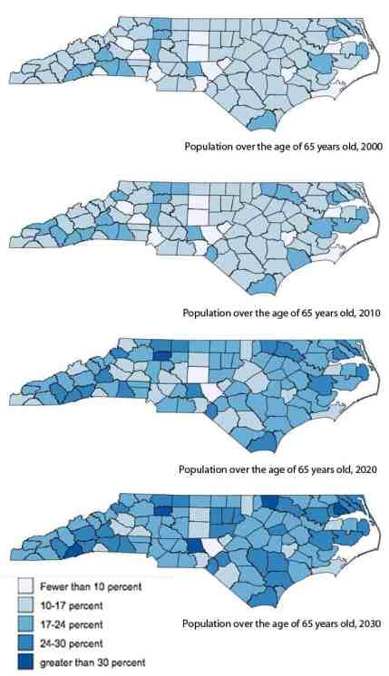 maps show the changing number of people over 65 in each county.