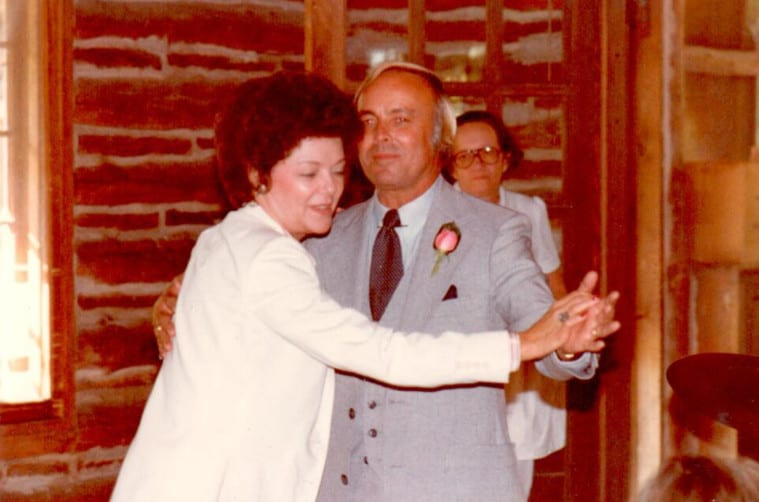 Chuck and Jeannette dancing at their daughter Lisa's wedding in 1981. Photo courtesy the Barbour family.