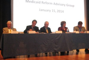 Members of the Medicaid Reform Advisory Group listen to speakers during the meeting Wednesday.
