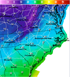 National Weather Service map for Tuesday afternoon, Jan 7.