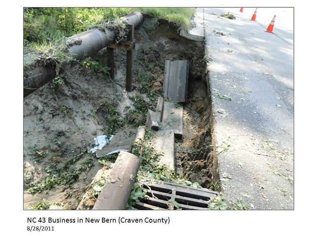 photo of flood damage that's destroyed a storm sewer.