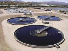 Aerial view of a wastewater treatment plant. Municipal wastewater plants in North Carolina cannot treat fracking wastewater. Image courtesy U.S. Environmental Protection agency