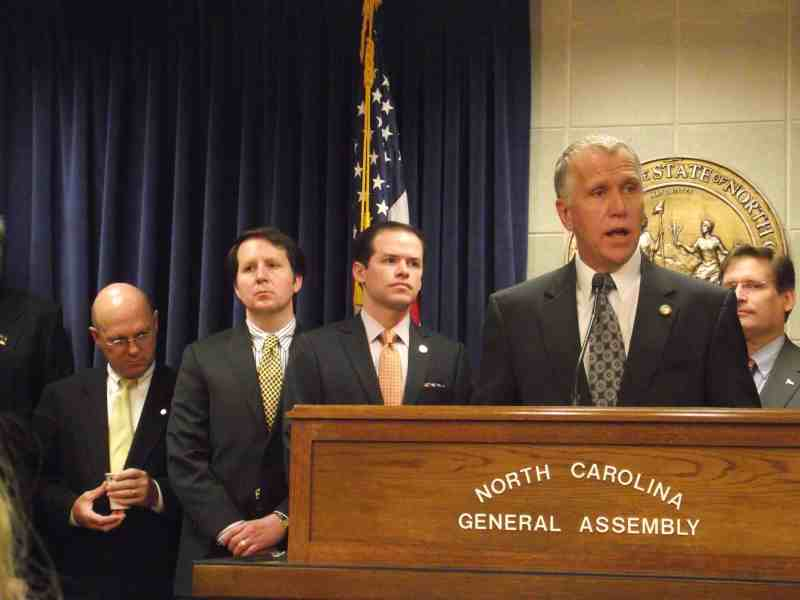 House Speaker Thom Tillis presents the House budget Tuesday morning.
