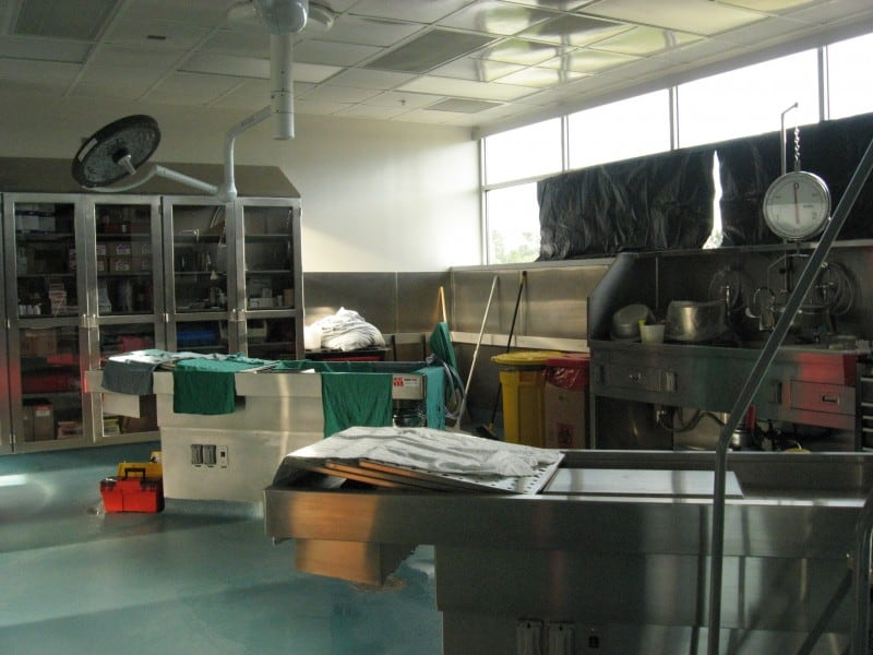 The autopsy suites in the new state lab in Raleigh expanded the capacity of the Office of State Medical Examiner. The new facility opened in early 2013.