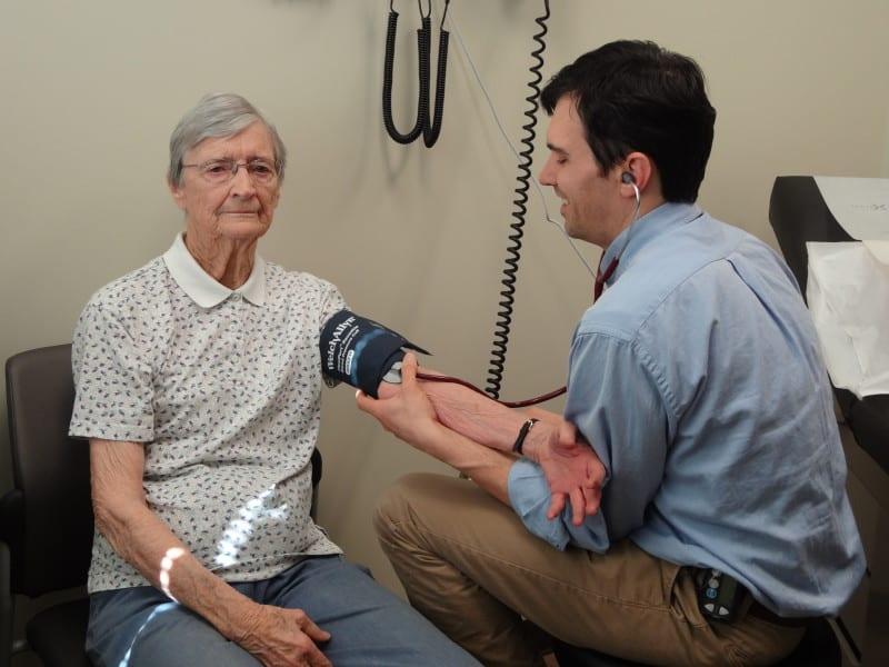 Rhee Williams gets her blood pressure taken at Lake Lure Medical Center,