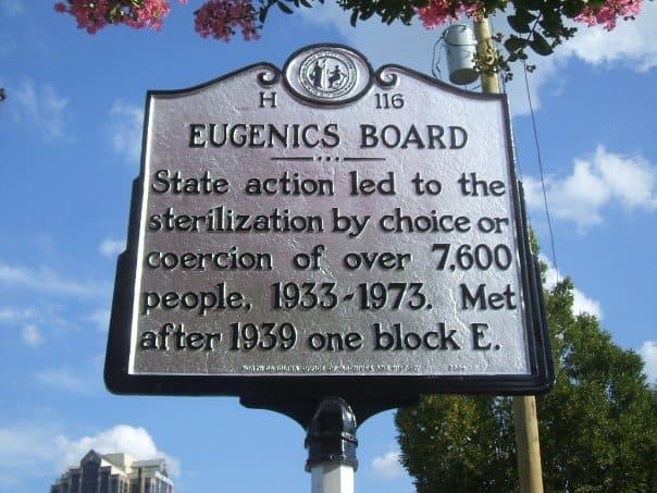 EugenicsMarker by North Carolina Highway Historical Marker Program Licensed under Public Domain, Wikimedia Commons
