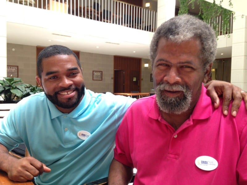 Stanley Cotton (R) jokes around with Jemel TKTK who worked at the Homestead Rd group home while Cotton lived there.