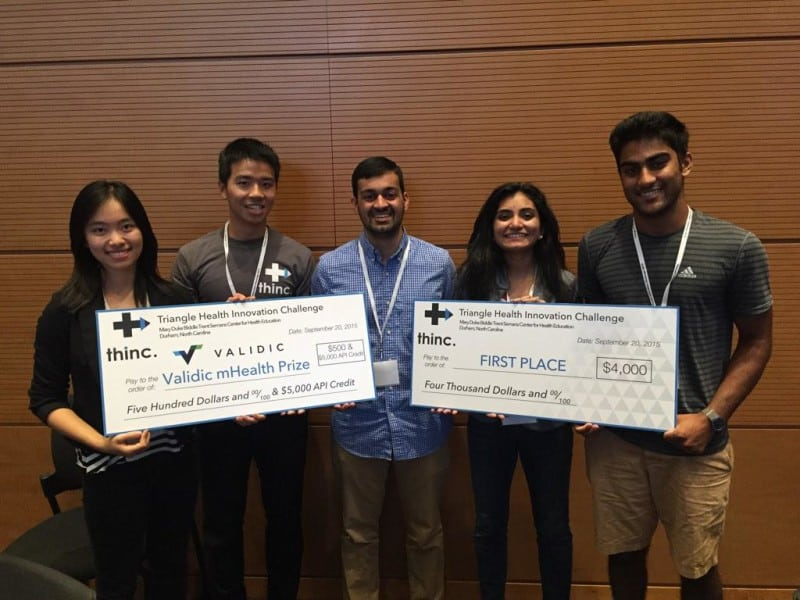 Triangle Health Innovation Challenge winners (L to R): Tannya Cai, Shih-Han Chang, Mihir Pershad, Maghana Shamsunder and Dhruv Patel. Not pictured: Cameron Valadez Photo shows students holding a large check for $2000