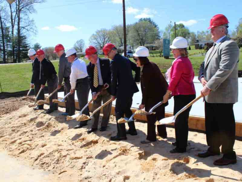 Health care professionals, elected officials and law enforcement officers break ground on a comprehensive behavioral care center in the Caldwell County town of Lenoir. Photo courtesy Smoky Mountain LME/MCO