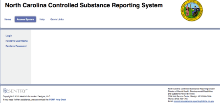 Screenshot of the provider portal for the Controlled Substances Reporting System.