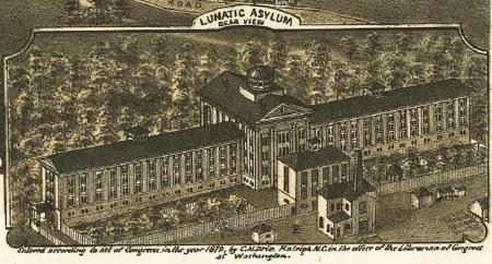 """In an 1872 """"Bird's Eye View"""" of Raleigh, the Dix Hill Asylum (now Dix Hospital) was labeled simply """"Lunatic Asylum."""" Image courtesy LEARN NC, UNC School of Education."""