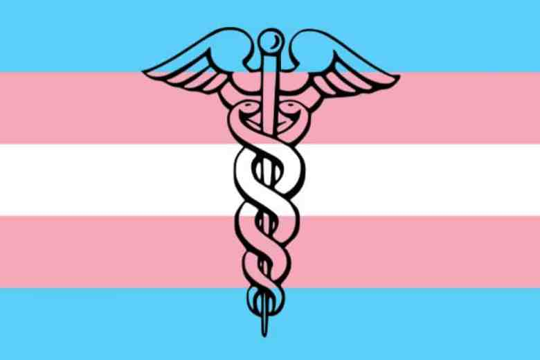 shows a transgender flag with a caduceus superimposed over it