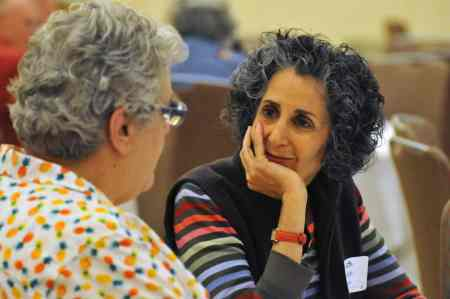 Judith Presser listens to Martha Brock during the discussion about a future Dix memorial at the Lives on the Hill event held Sunday at the NC State University campus. Photo credit: Karen Tam