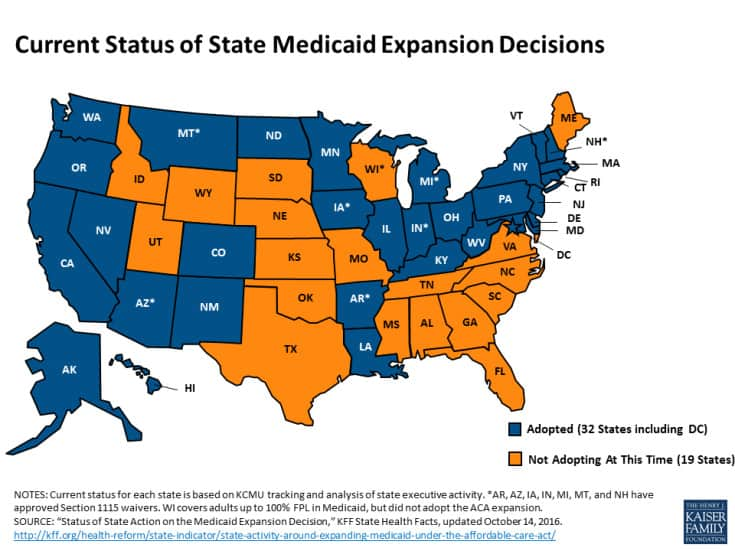 Map of which states have accepted Medicaid expansion. North Carolina is one of 19 which have refused to expand the program.