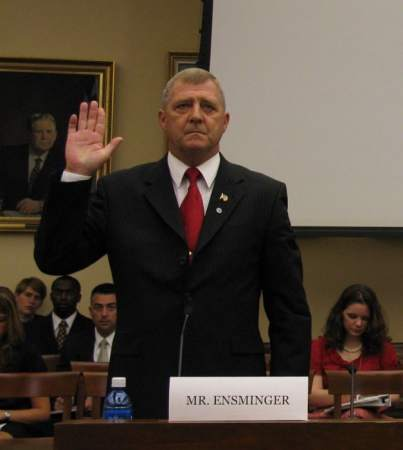 Jerry Ensminger takes an oath before testifying before Congress in 2008.