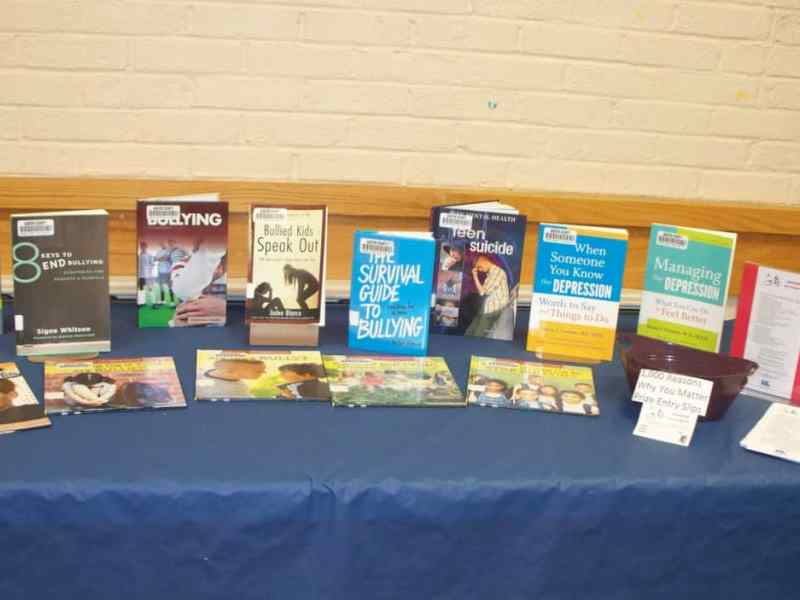 Table showing books on teen suicide prevention and books on how to cope with bullying