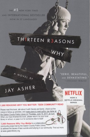 Show the cover of 13 Reasons Why: A girl on a swing, looking off into the distance.