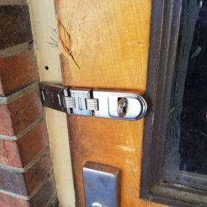 padlock hasp on the door.