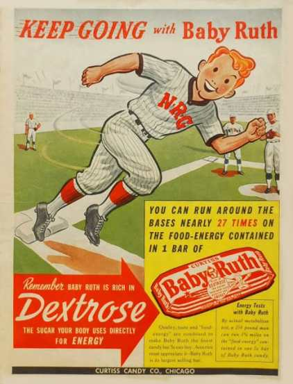 vintage advertisement for Baby Ruth chocolate bar