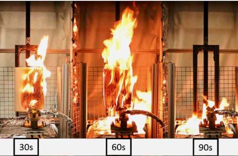 shows images of burning materials at 30, 60 and 90 seconds