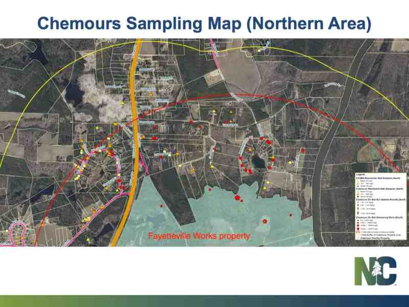 Shows arial map of Chemours with testing sites marked in red.