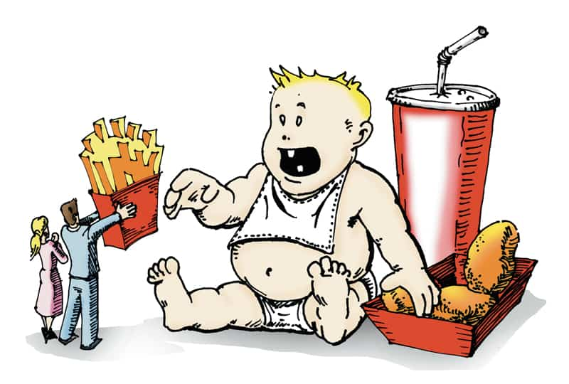 illustration shows adults offering an obest baby french fries