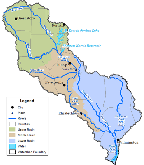 shows a map of the Cape Fear River basin witih landmarks noted, including Fayetteville, where GenX and 1,4 dioxane entered the river
