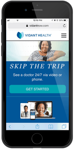 shows a mockup of what the Vidant Now telehealth app will look like on an iPhone