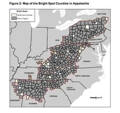 """Shows many appalachian counties with about 40 """"bright spots"""" highlighted in a lighter color among the dozens of counties outlined"""