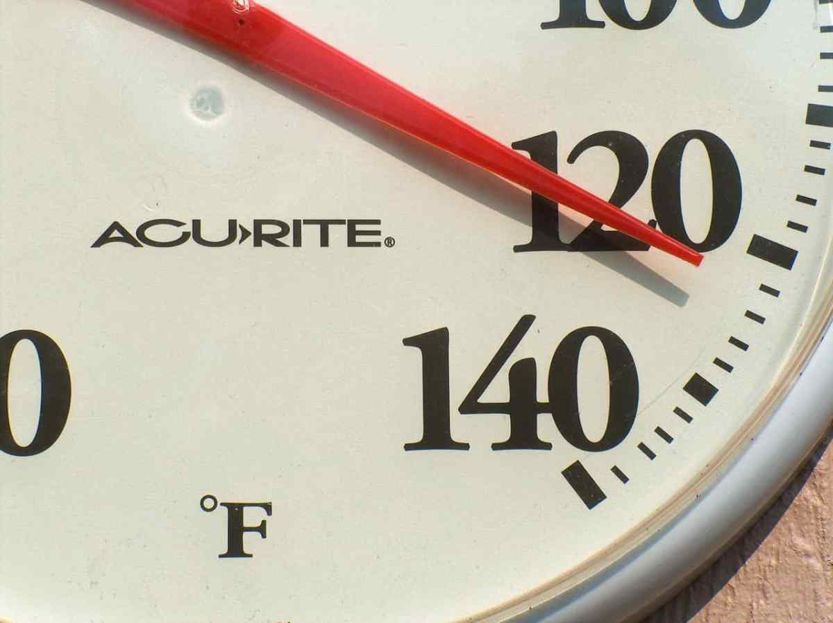 shows a thermometer reading 120 degrees