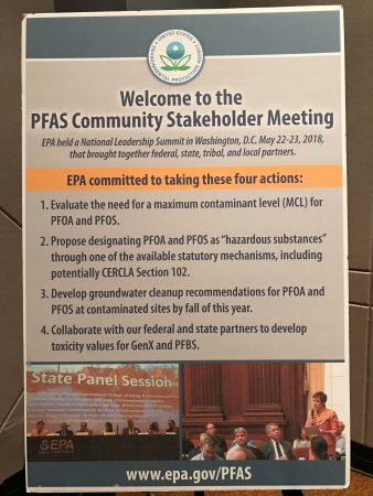 """Sign says """"welcome to PFAS community stakeholders meeting"""""""