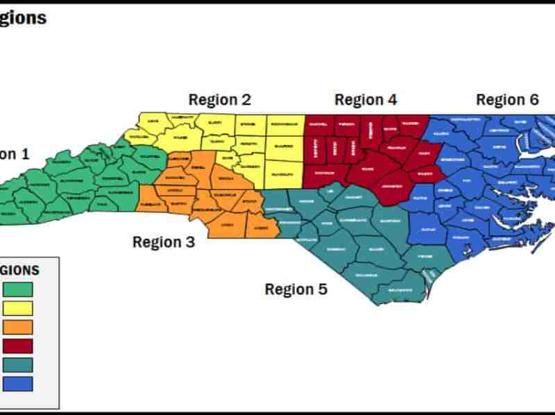 shows NC with the 100 counties divided by region into six regions for Medicaid bidders